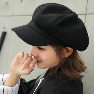 Woman Wool Beret Autumn and Winter Warm Octagonal Hat Fashion Retro Newsboy Hats