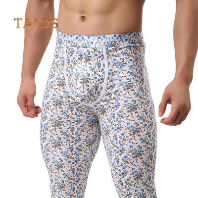28c5f76c3b6e13 Winter Flower Print Men's Tights U Convex Skinny Long Pants Thermal  Underpants Male Clothing