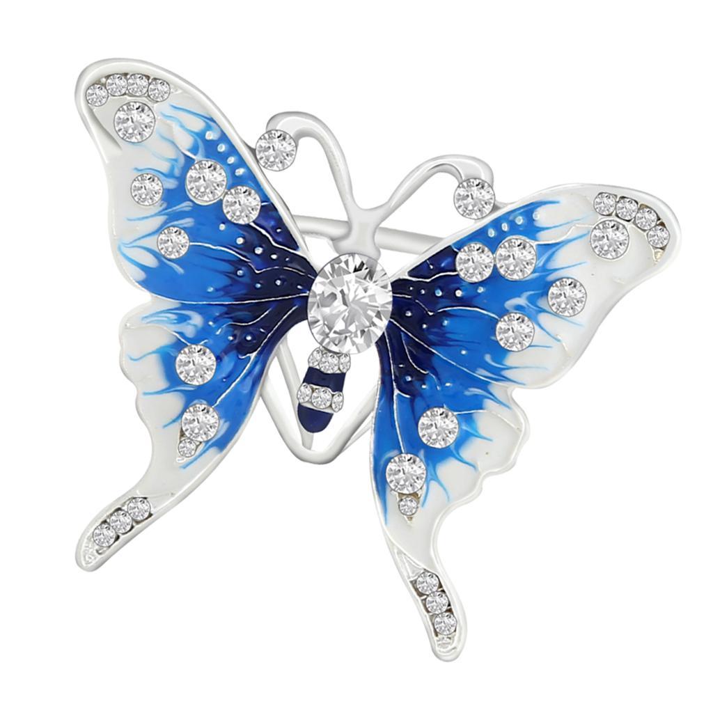 Women Scarf Ring Clip Holder Crystal Butterfly Flower Silk Scarves Brooch P3