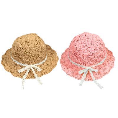 5ccd5637d81 Children Babies Kids Summer Large Brimmed Hollow Beach Straw Sun Hat Cap