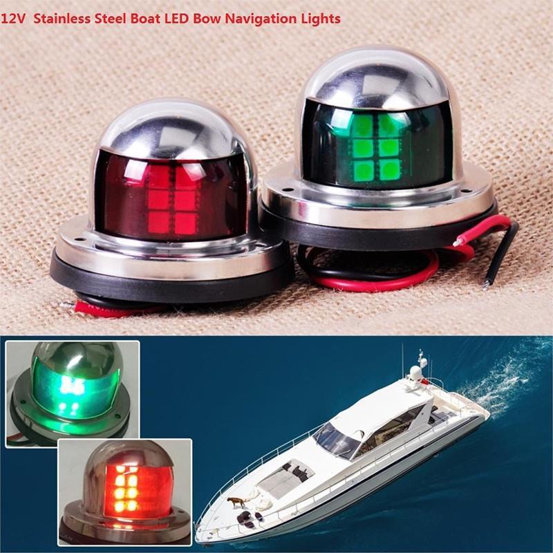 1 Pair Marine Boat Yacht Pontoon 12V Stainless Steel LED Bow Navigation Lights