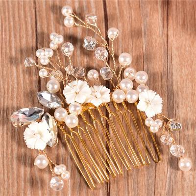 Perle Blumen Haar Kamm Goldene Hochzeit Kleid Accessoires