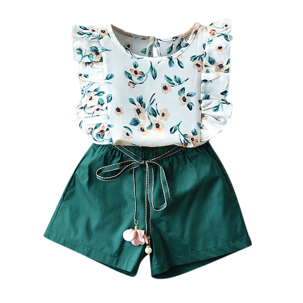 Zerototens Girl Shorts and Tshirt Sets,Girls Summer Clothes 3Pcs Toddler Baby Kid Girl Print Floral Bow Vest T-Shirt+Pants+Sun Hat Set Little Princess Casual Outfit