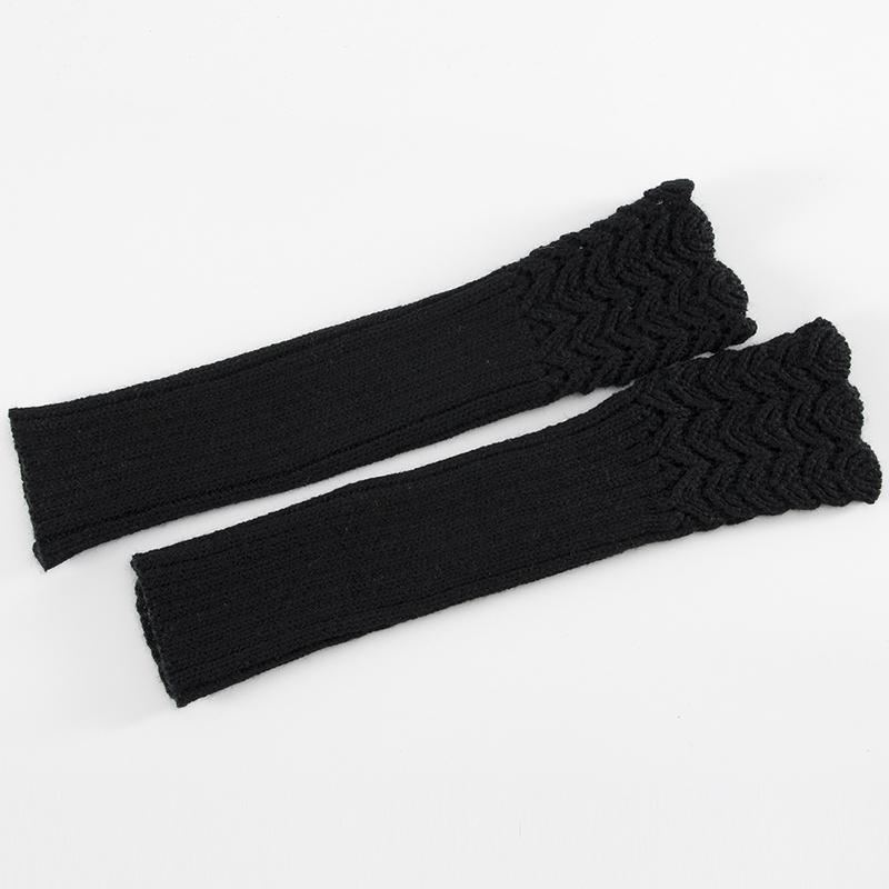 Men Women Knitting Half Finger Mitts Gloves Fish Scales Warm Arm Set Arm sleeve