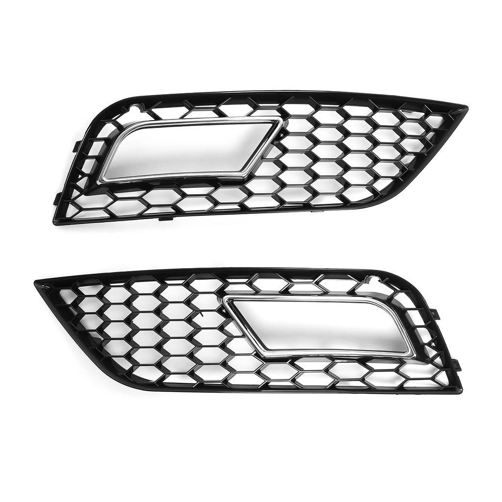 Parrilla de luz antiniebla del parachoques delantero 2 piezas para RS4 Estilo Negro brillante Parrilla de luz antiniebla del parachoques delantero negro estilo para A4 B8.5 2013-2016