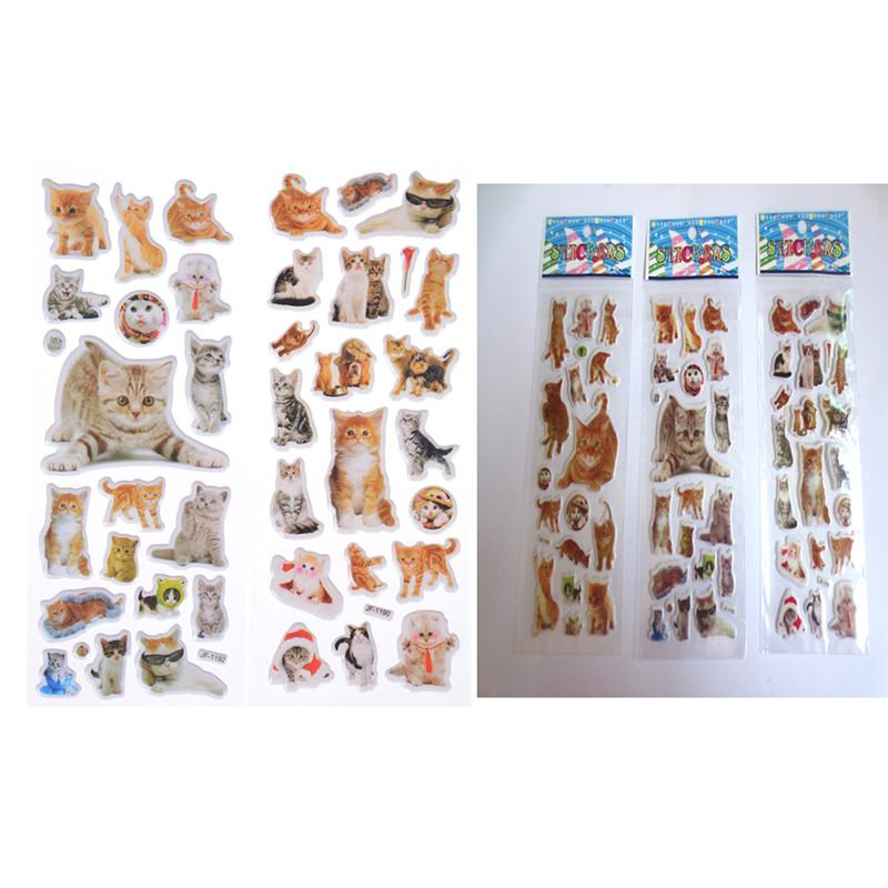 3 Sheets Kawaii Cat Animal Scrapbooking Bubble Puffy Stickers Reward Kids Toy QN