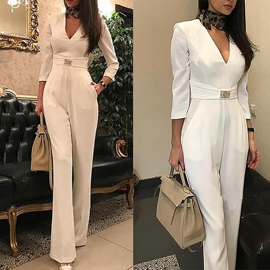Мода женщин V-Neck Твердый цвет Длинный рукав случайный формальный сексуальный комбинезон – купить по низким ценам в интернет-магазине Joom