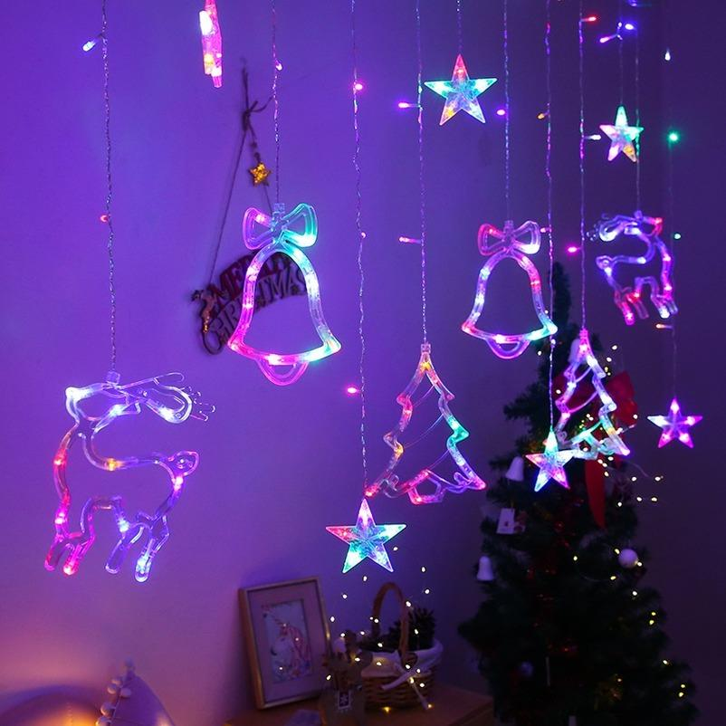 Xmas LED Curtain Lights with Bell Deer Twinkle Hanging String Lights Home Decor