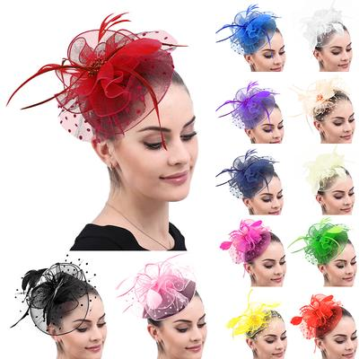 Women/'s Feather /& Flower Hair Fascinator Wedding Party Out Accessories