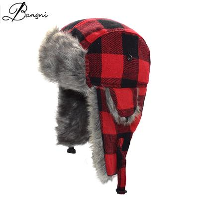 Winter Warm Earflaps Fur Bomber Hats Caps Scarf Men Aviator Ushanka Russian  Trapper Hat Women b9fba9ac0d02