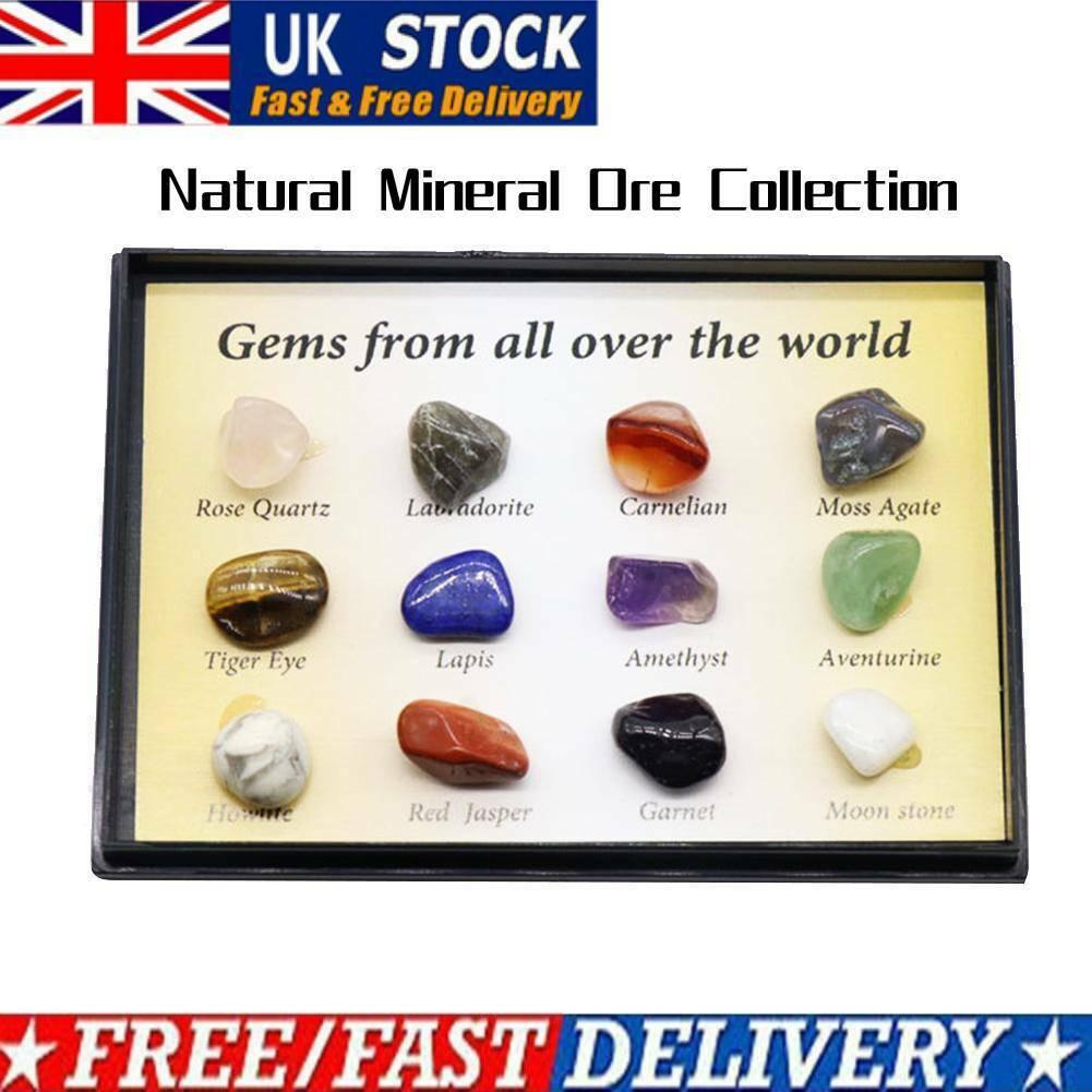 Великобритания Набор из 12 Исцеление Кристалл природных драгоценных камней Рейки Чакра Коллекция Каменный комплект C6T8 – купить по низким ценам в интернет-магазине Joom
