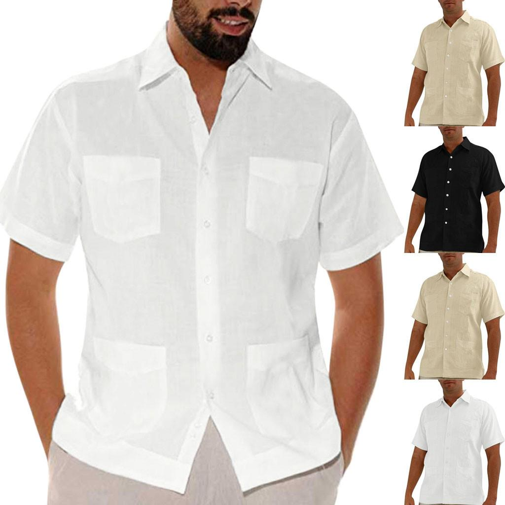 Men Baggy Cotton Linen Short Sleeve Turn Down Collar Shirts,White,L