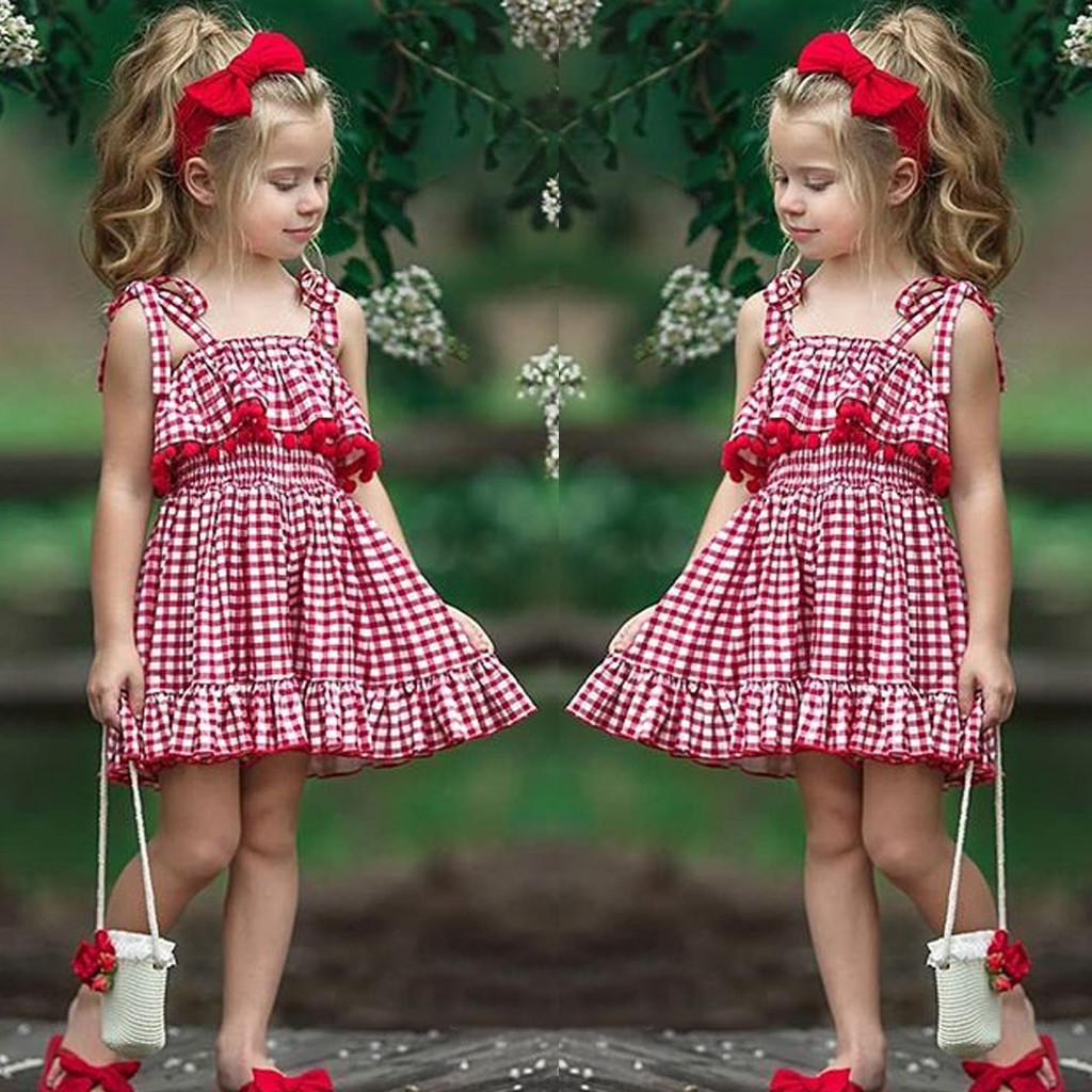 Motop Baby Kid Girls Stripe Condole Belt Skirt Princess Dresses Casual Clothes