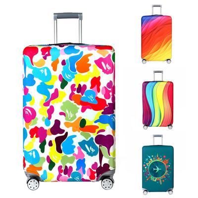 Cute Lily Print Luggage Protector Travel Luggage Cover Trolley Case Protective Cover Fits 18-32 Inch