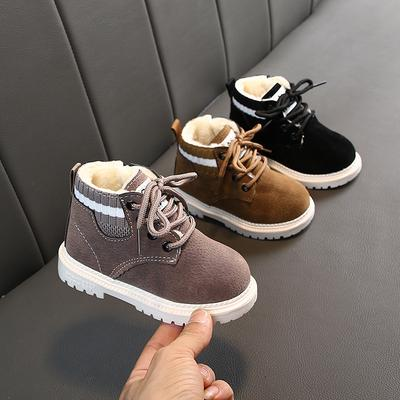 Autumn Winter Children Fashion Boys Girls Martin Sneaker Snow Boots With Fur Baby Casual Shoes