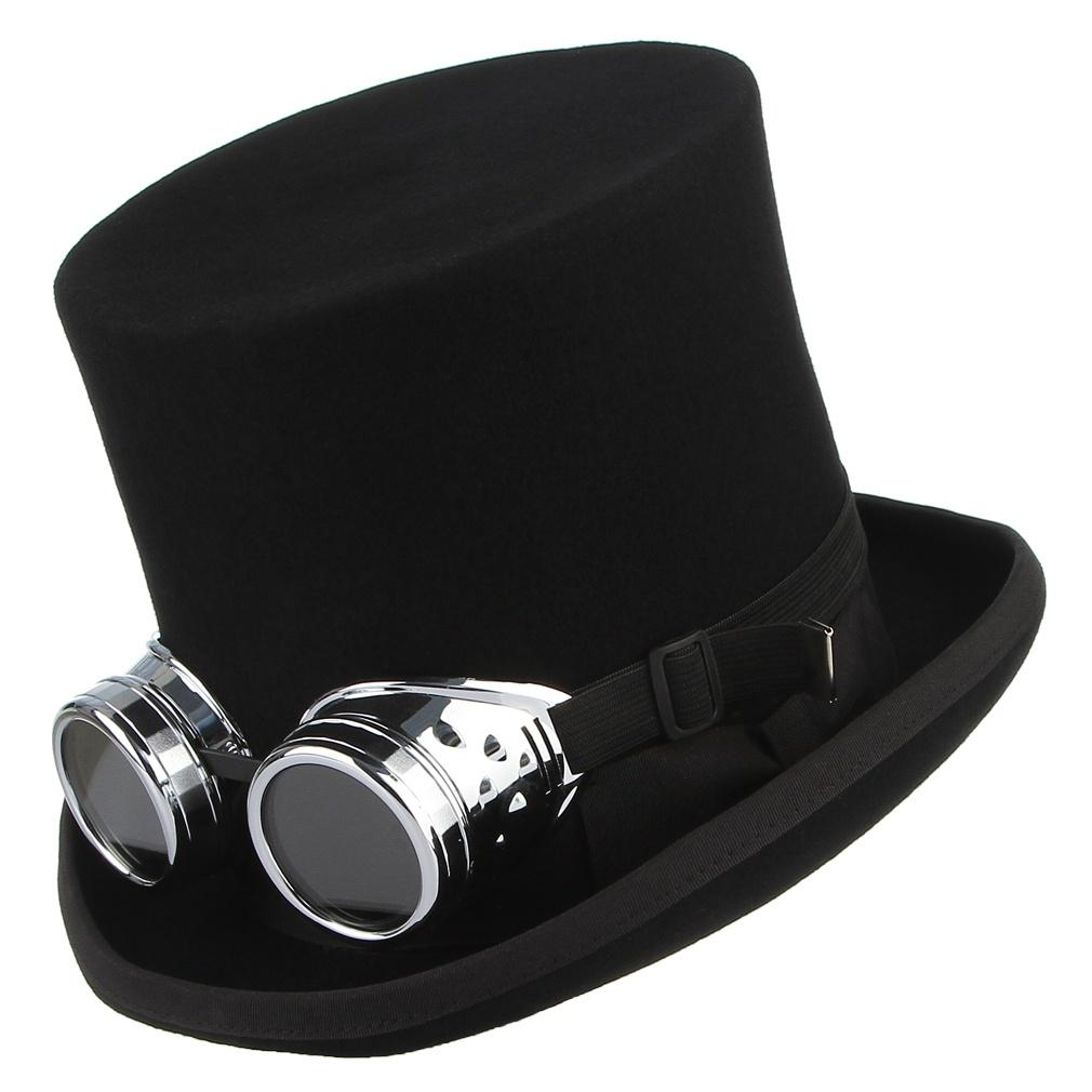 Steampunk Magic Retro Wool Cosplay Gentleman Hat With Goggles For Masquerade