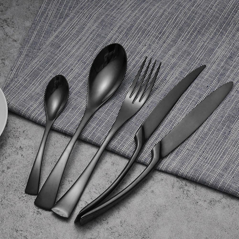 Столовые приборы Черный нержавеющей стали посуда свадьба серебро вилка чайной нож – купить по низким ценам в интернет-магазине Joom