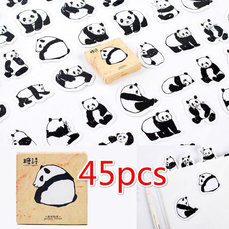 45pcs / много Cute Panda животных украшения наклейки DIY мультфильм дневник записки