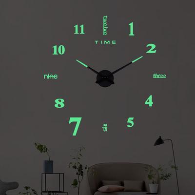 27/37/47inch DIY Luminous Wall Clocks Large Clock Watch Horloge 3D DIY Acrylic Mirror Stickers Quartz  Modern Mute