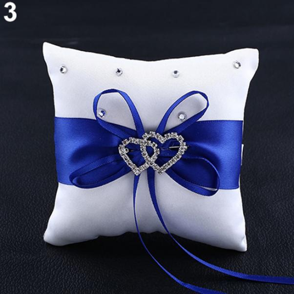 15cm dDanke Double-Heart Rhinestone Wedding Ring Pillow Cushion Bearer 15