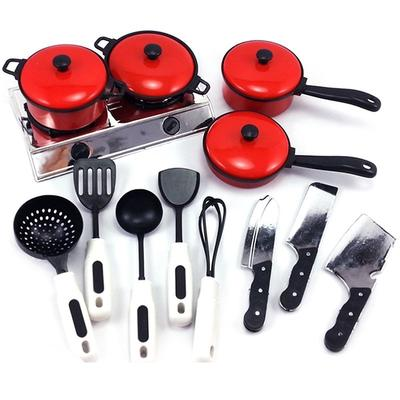 13PCS Kid Play House Toy Kitchen Utensils Cooking Pans Food Dishes Cookware