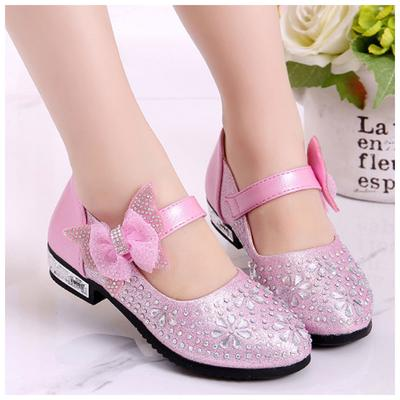 Children Diamond High-heeled Comfortable Dance Delicate Bow Decoration Shoes