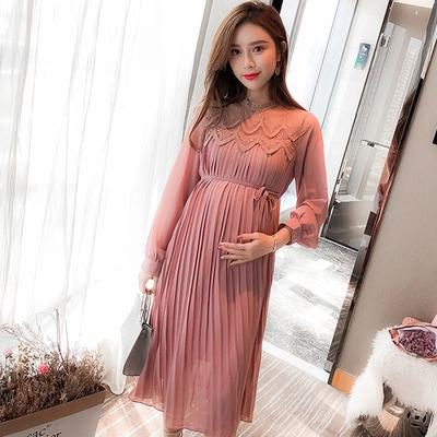 Chiffon Dresses Maternity Clothes For Pregnant Women Long Sleeve Pleated Dresses Pregnancy Buy At A Low Prices On Joom E Commerce Platform