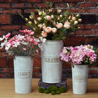 Flower Pot Vintage Metal Iron Garden Shabby Vase Barrel Planter Decor ece41b59dde7