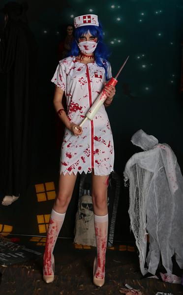 Adulto Sanguinoso Sposa Di Halloween Costume Fantasma Zombie Sanguinoso Collant