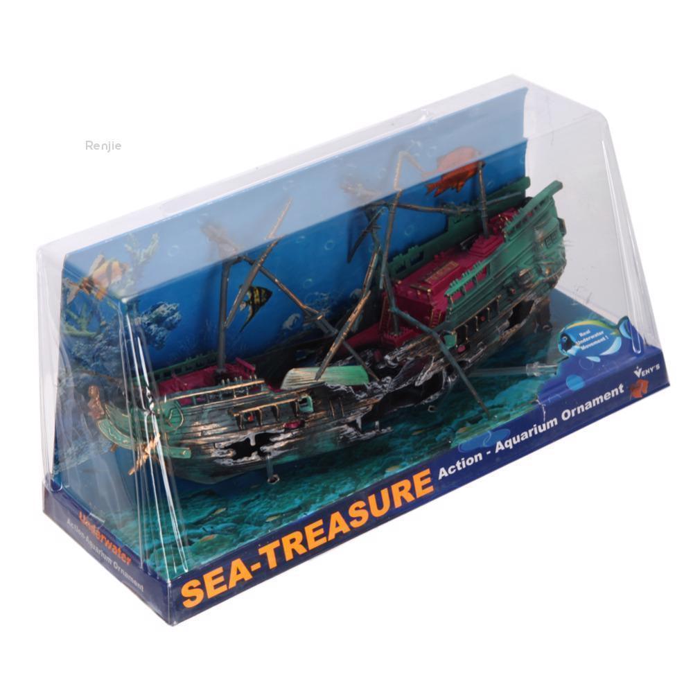 Baixing 24 12cm Aquarium Decoration Boat Large Plactic Sunk Pirate