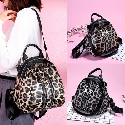 Riboomary Women Girl Leather Leopard Print School Bag
