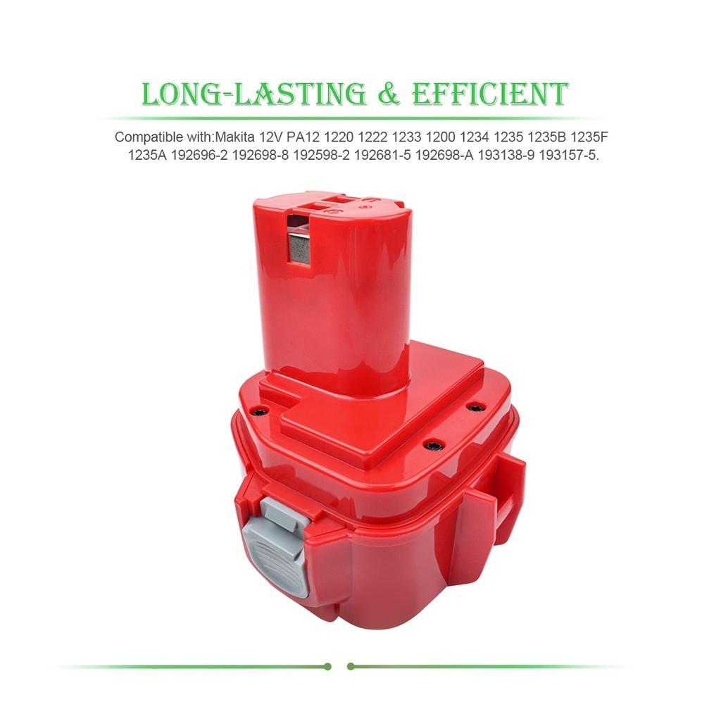 2Pcs 12V 3000mAh Ni-MH Battery For Makita PA12 1200 1220 1222 1233 1234 1235