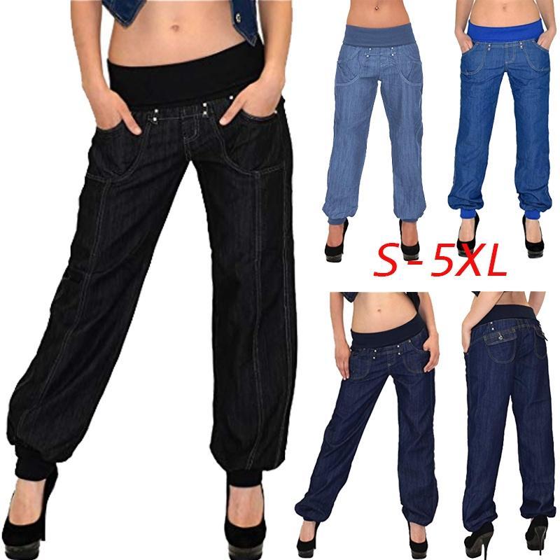 Женские брюки Плюс размер Карманы Повседневные брюки Свободные длинные брюки Низ для отдыха S-5XL – купить по низким ценам в интернет-магазине Joom