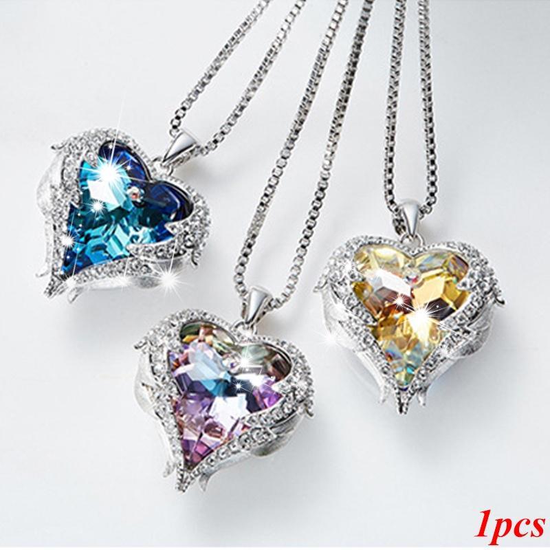 Women Silver Crystal Heart Bottle Pendant Necklace Jewelery Gift Valentine/'s UK