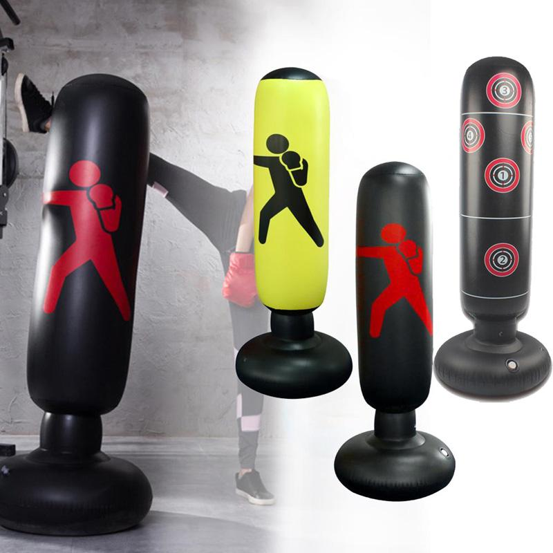 Punching Bag Free Standing Inflatable Punching Tower Bag with Inflator for Kids Adults Stress Relief Fitness Training 150 cm Boxing Bag