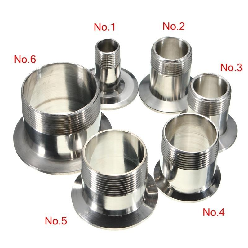 """3//4/"""" DN20 Sanitary Male Threaded Ferrule Pipe Fitting Tri Clamp Type SS304"""