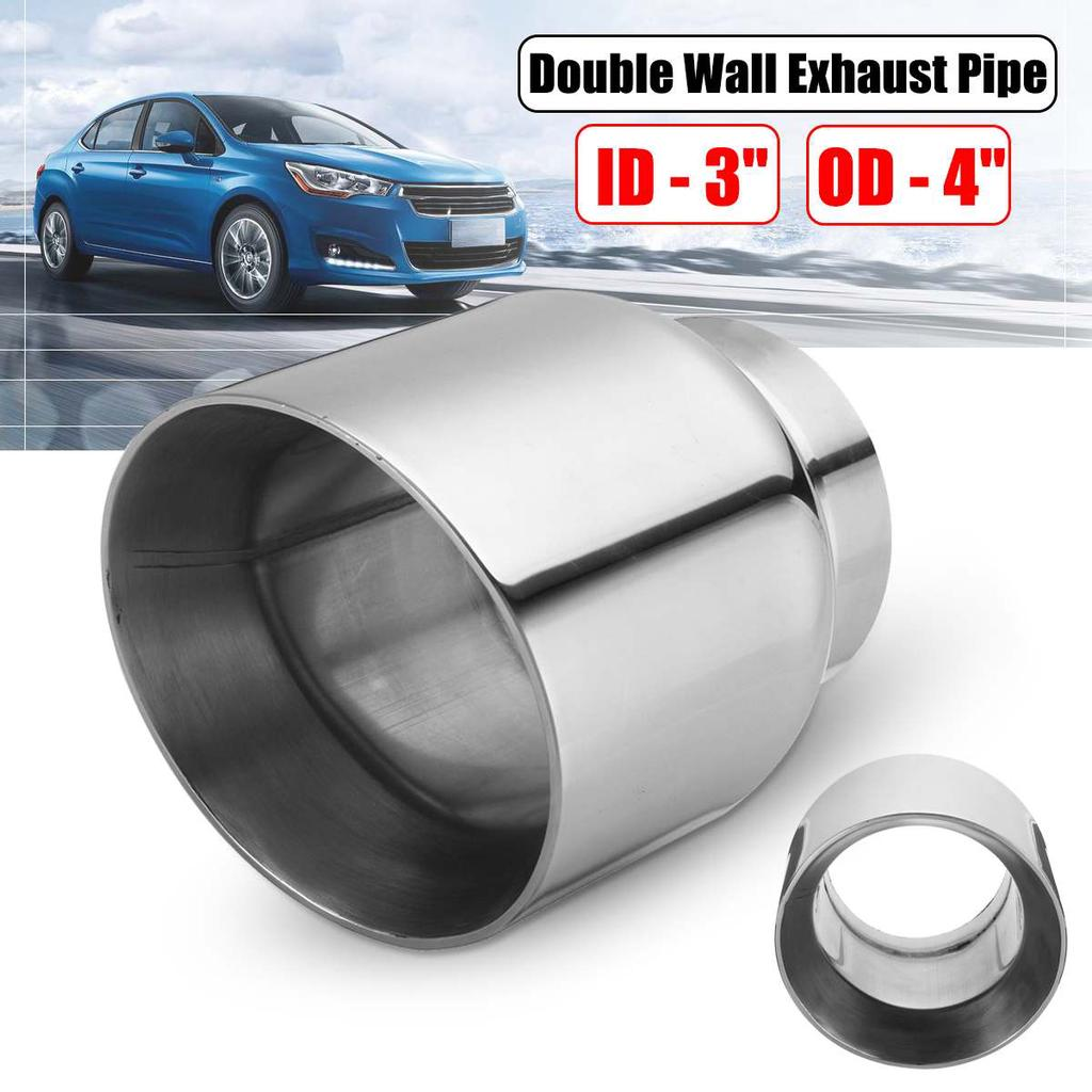 """Exhaust Tips Adjustable Angle Tails Pipe Muffler 3/"""" Inlet Stainless Steel Sliver"""