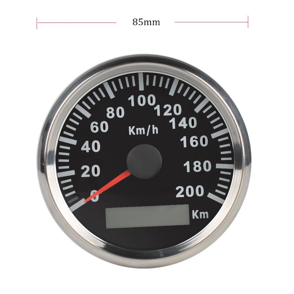 9-32VDC 85mm 200km//h Autos Stainless GPS Digital Speedometer Odometer Waterproof