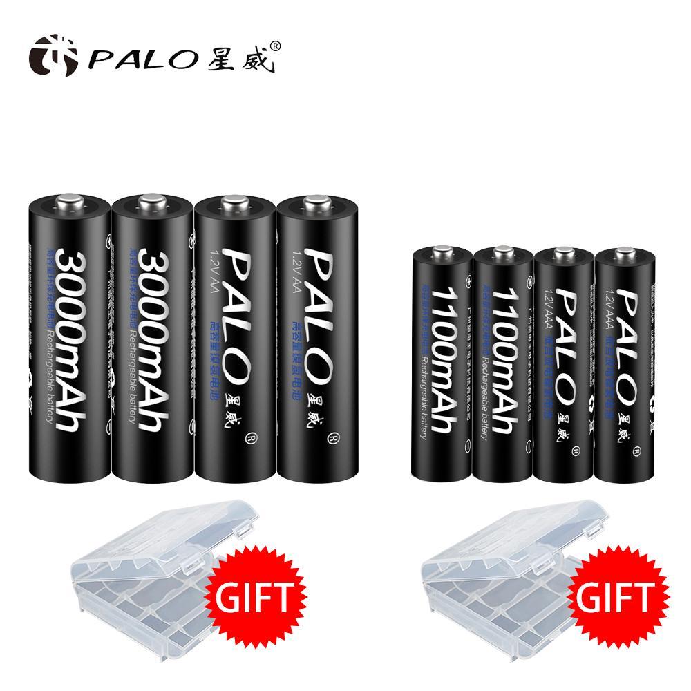 PALO 8 PCS/Lot Перезаряжаемый набор аккумуляторов включает в себя 4Pcs AA 3000mAh и 4Pcs AAA 1100mAh NI-MH AA/AAA Перезаряжаемые батареи для радио фото