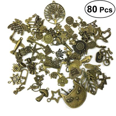 100gram Fancy Assorted Vintage Silver Beads Charms Pendants Mix DIY Jewelry