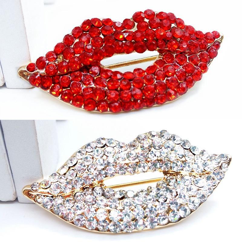 Мода аксессуары женщин брошь горный хрусталь губы Pin броши милые украшения фото