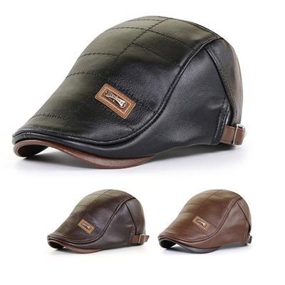 Leather Newsboy Cap Boinas Flat Caps Autumn Gatsby Hats Winter Vintage Beret Hat Duckbill