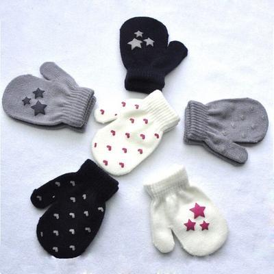 Toddler Kids Star Winter Warm Heart Pattern Mittens Soft Knitting Gloves