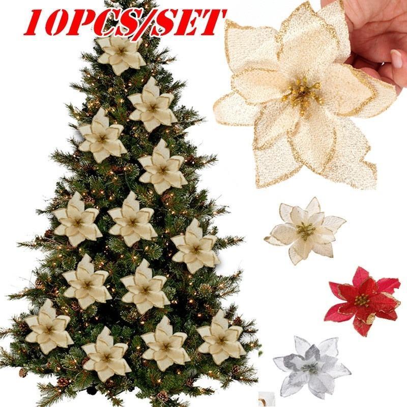 Рождественские цветы Рождественская елка Декор Ложный Цветок Искусственный Декоративный Цветок Блеск Свадебная партия Искусственные Цветы Декор фото