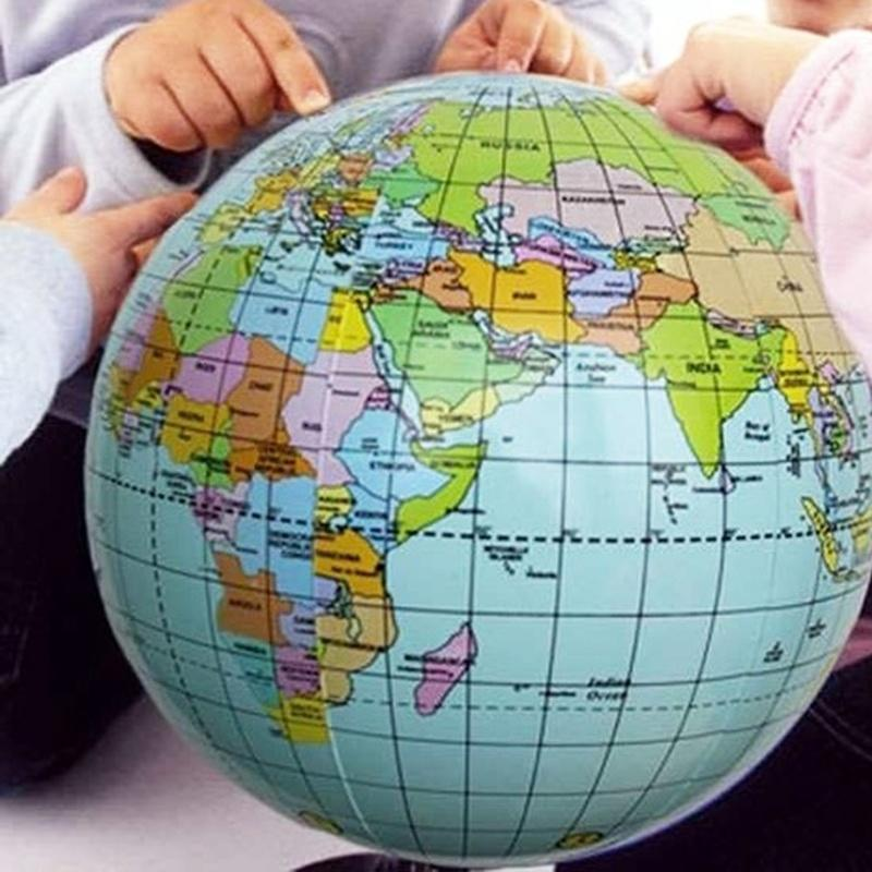 Inflatable 40cm World Globe Earth Teaching Geography Map Ball Toys For Kids