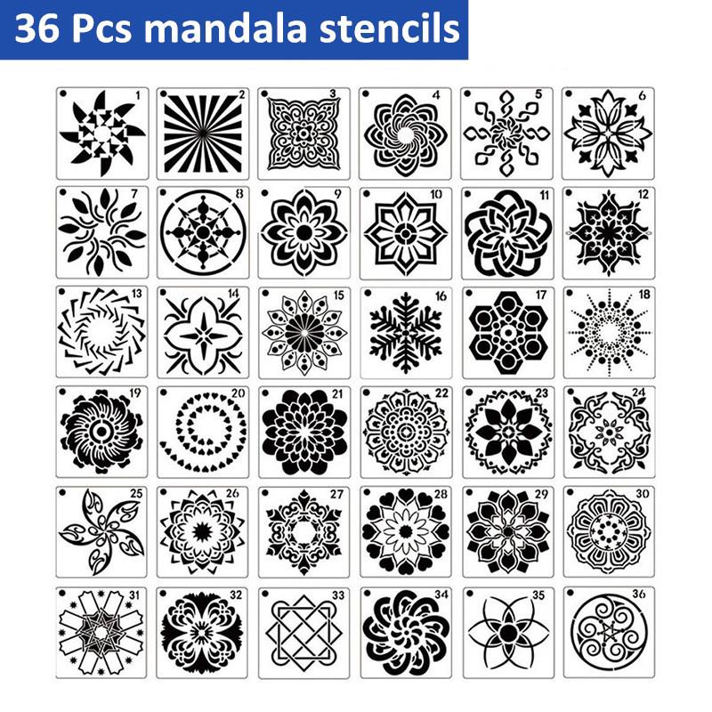 36 PCS Mandala Stencils Mandala Dot Painting Stencils Templates for Rocks Wood