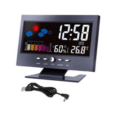 Pearliky Color LCD Thermometer Hygrometer Voice Control Weather Station Alarm Clock