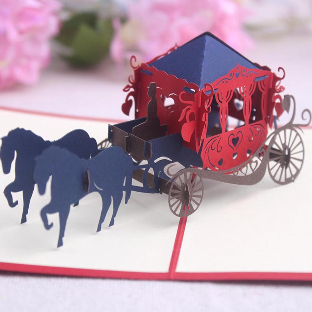KQ/_ Creative 3D Pop Up Horse Carriage Paper Craft Card Thanksgiving Birthday New