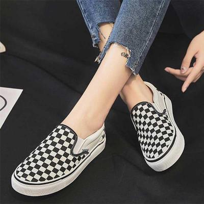Black White Checkerboard British Plaid Casual Loafers Womens Cool Slip on Canvas Gym Shoes