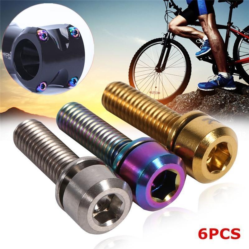 6Pcs Titanium Ti Bolt M6x18mm Tapered Hex Allen Head Bicycle Bike Screw washers